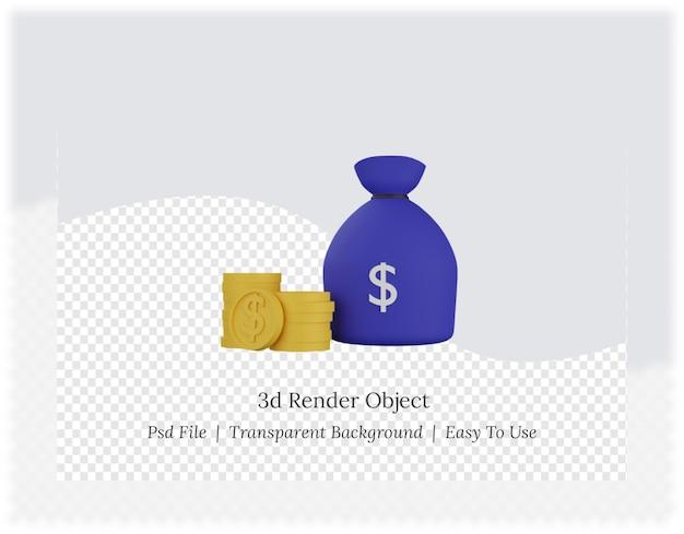 돈 가방의 3d 렌더링