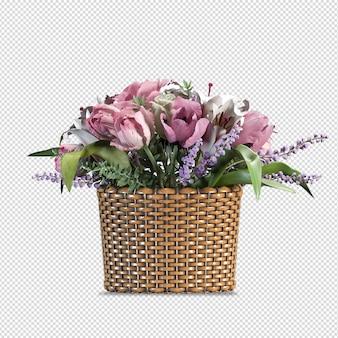 花瓶の美しい花の3dレンダリング
