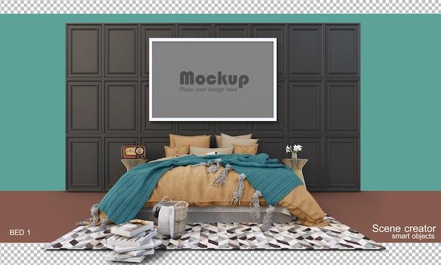 고립 된 모형과 침대와 가구의 3d 렌더링