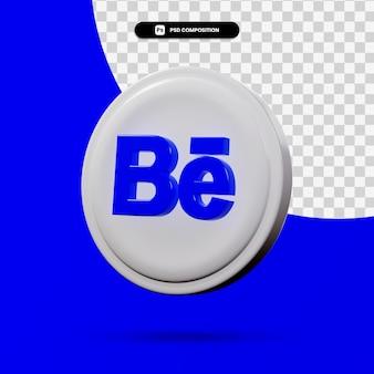 分離されたbehanceアプリケーションロゴの3dレンダリング