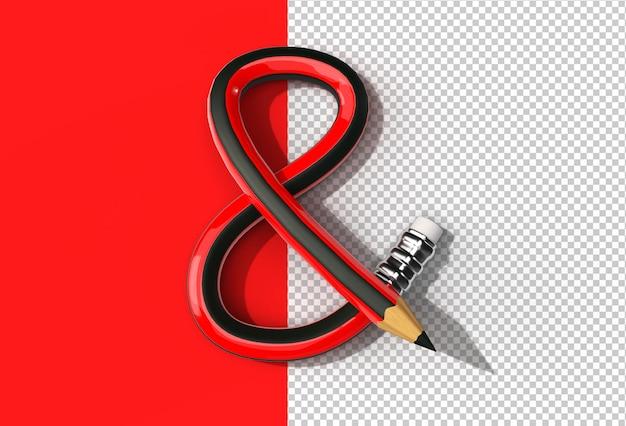 구부러진 연필 글꼴 문자 s 로고 투명 psd 파일의 3d 렌더링.