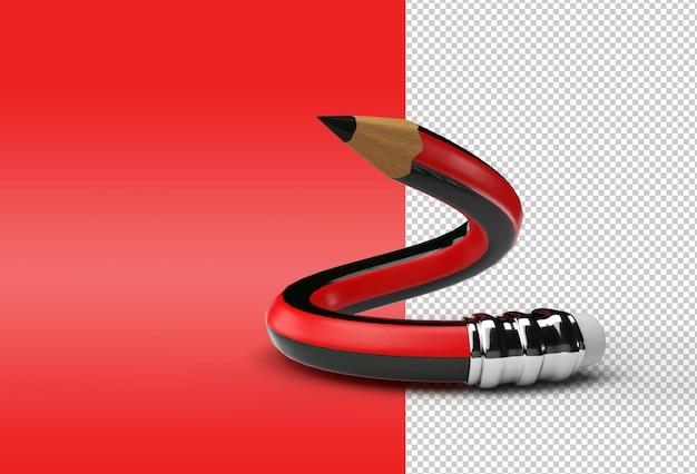구부러진 연필 투명 psd 파일의 3d 렌더링.