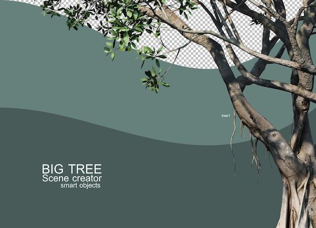 큰 나무 준비의 3d 렌더링
