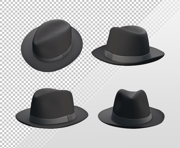 さまざまな角度からの黒の古典的な帽子テンプレートの3dレンダリング
