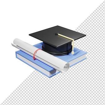 本と卒業帽の帽子の3dレンダリング