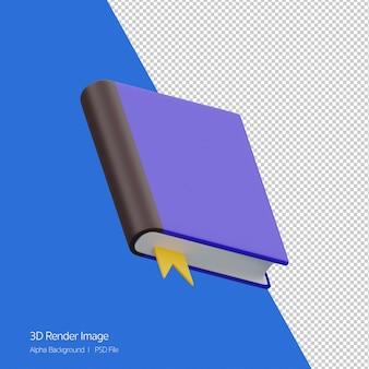 3d-рендеринг книги со значком ленты, изолированным на белом.
