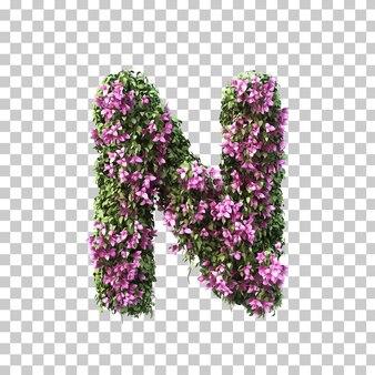 부겐빌레아 알파벳 n의 3d 렌더링