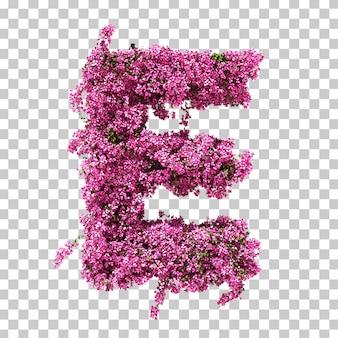 부겐빌레아 문자 e의 3d 렌더링