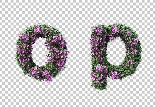 3d-рендеринг бугенвиллии буквы о и буквы р