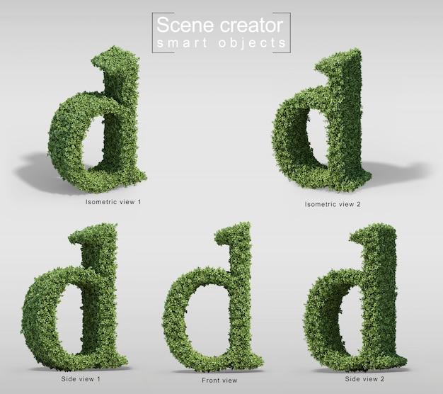 文字dの形の茂みの3 dレンダリング