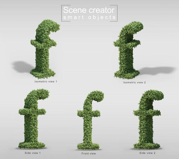 文字fの形の茂みの3 dレンダリング