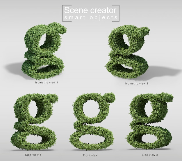 3d-рендеринг кустов в форме буквы г