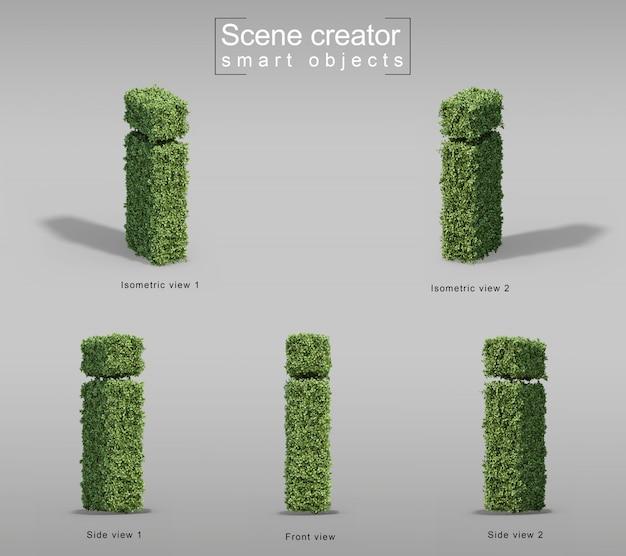 편지의 모양에 덤불의 3d 렌더링