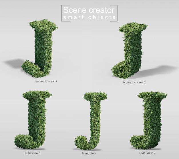 手紙jの形の茂みの3 dレンダリング