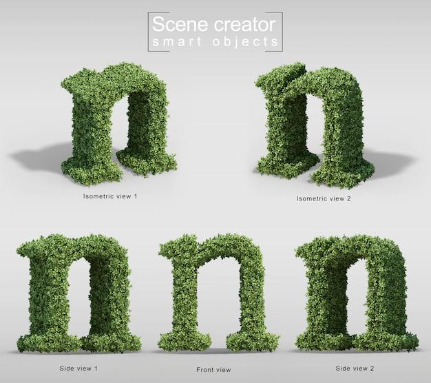 手紙nの形の茂みの3 dレンダリング