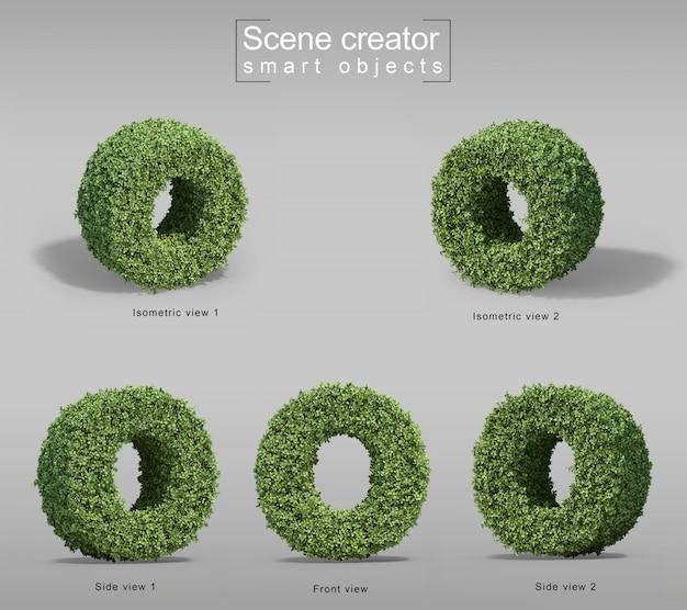 手紙oの形の茂みの3 dレンダリング