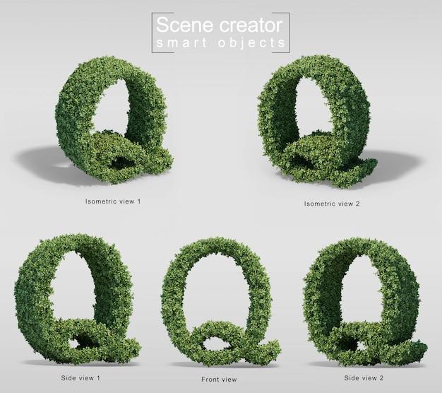 3d-рендеринг кустов в форме буквы q