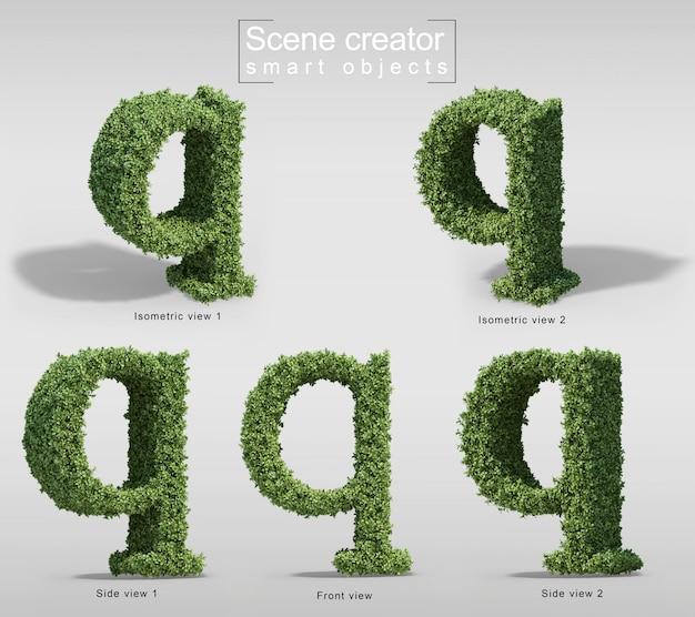 手紙qの形の茂みの3 dレンダリング