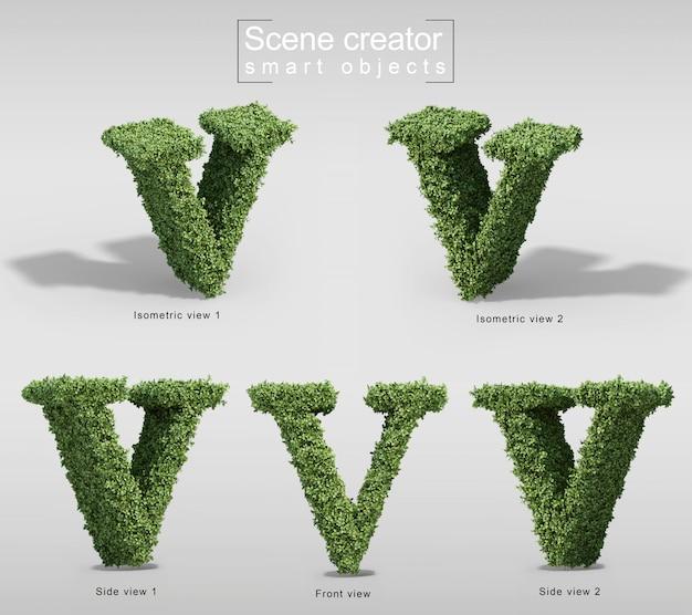 手紙vの形の茂みの3 dレンダリング