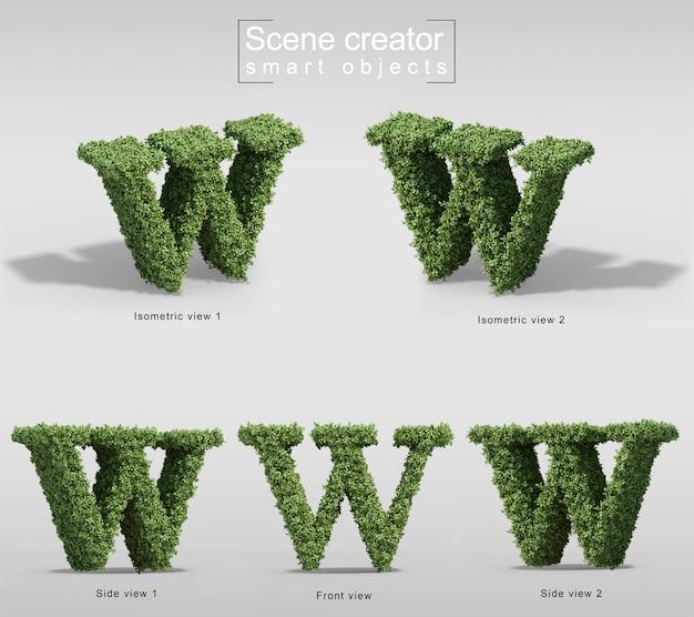 手紙wの形の茂みの3 dレンダリング