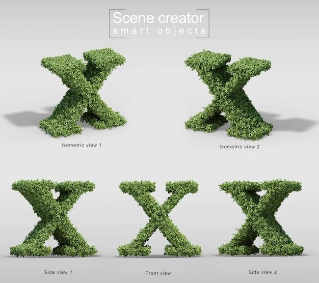 手紙xの形の茂みの3 dレンダリング