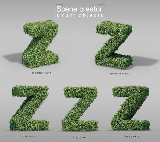 Zの文字の形の茂みの3 dレンダリング