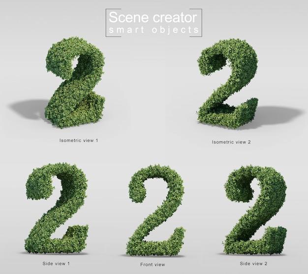 숫자 2의 모양에 덤불의 3d 렌더링