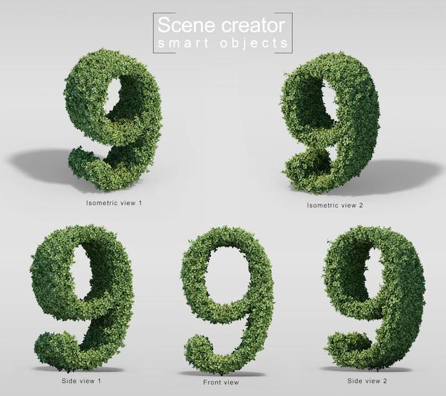 数9の形の茂みの3 dレンダリング