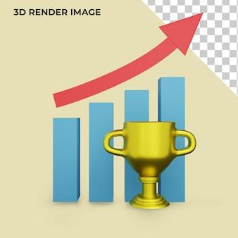 성공에 대한 상을 가진 비즈니스의 3d 렌더링