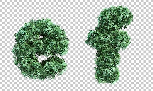 3d-рендеринг каннабиса буква е и буква f