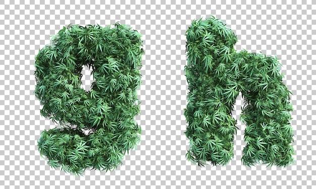 3d-рендеринг каннабиса буквой г и буквой ч