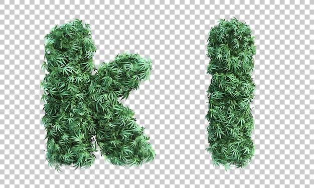 3d-рендеринг каннабиса буква k и буква l
