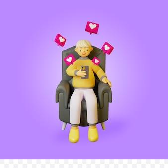 3d-рендеринг мультипликационного персонажа, сидящего и держащего смартфон с иллюстрацией значка любви