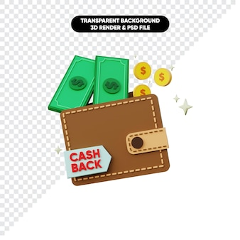 キャッシュバックマネーコインとウォレットの3dレンダリング