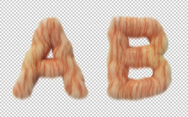 고양이 머리 효과 알파벳의 3d 렌더링 프리미엄 PSD 파일