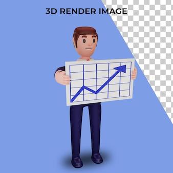비즈니스 개념을 가진 캐릭터의 3d 렌더링