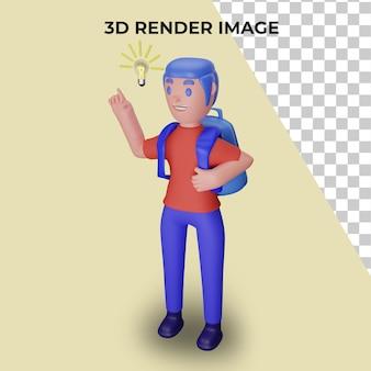 3d рендеринг персонажей с концепцией обратно в школу