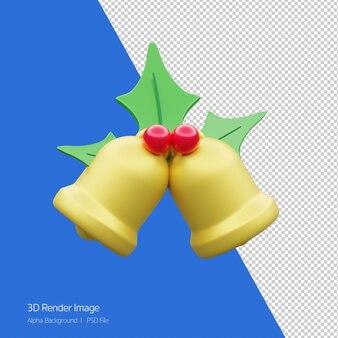 화이트 절연 크리스마스 종소리의 3d 렌더링입니다.