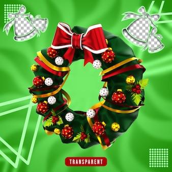 クリスマスの花輪の3dレンダリング
