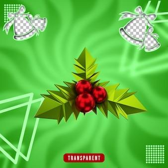 크리스마스 꽃의 3d 렌더링