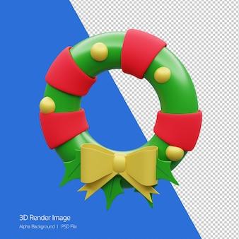 화이트 절연 크리스마스 화 환의 3d 렌더링입니다.