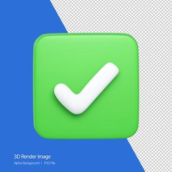 흰색 절연 녹색 버튼에 올바른 아이콘의 3d 렌더링.