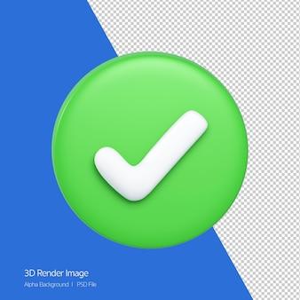 흰색 절연 녹색 원에 올바른 아이콘의 3d 렌더링.