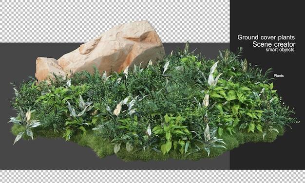 カバー植物と大きな岩の3dレンダリング