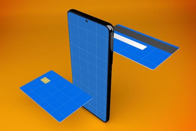 クレジットカードアプリのモックアップの3dレンダリング