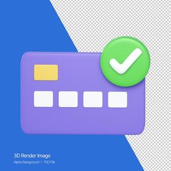 신용 카드의 3d 렌더링은 흰색으로 격리된 오른쪽 상단에 올바른 수락 기호를 확인합니다.