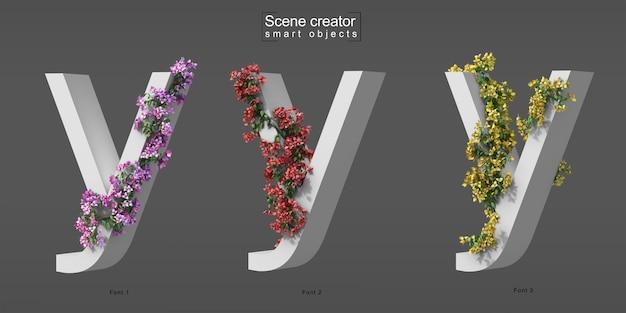 3d-рендеринг ползучей бугенвиллии на алфавите y