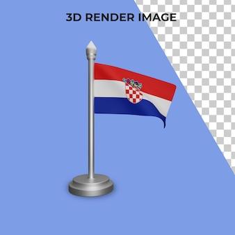 クロアチアの国旗のコンセプトの3dレンダリングクロアチア建国記念日プレミアムpsd
