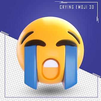 分離された泣いている絵文字の3dレンダリング