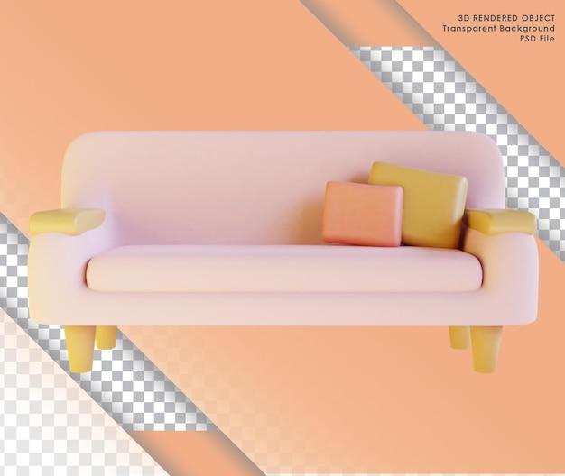 透明な背景を持つリビングルームのかわいいピンクのソファの3dレンダリング